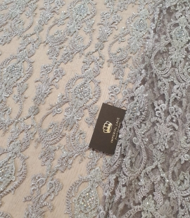 Lilac grey beaded lace fabric