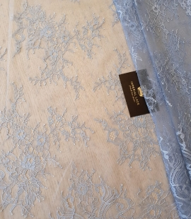 light blue floral pattern chantilly lace fabric