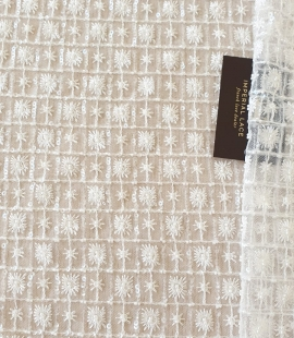 Ivory checkered floral beaded lace fabric