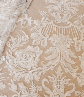 Ivory beaded embroidery on tulle fabric