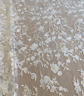 Ivory embroidery lace fabric