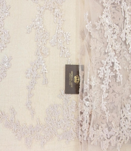Nude organic pattern embroidery with sequins on tulle fabric