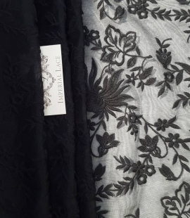 Black embroidery lace fabric