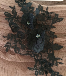 Black applique with 3D flowers and crystals