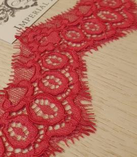Red guipure lace trimming