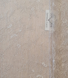 Beige chantilly lace fabric