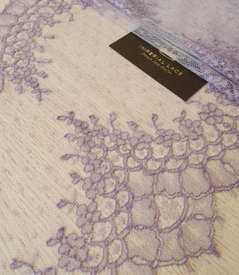 Lilac chantilly cotton lace trimming by Jean Bracq