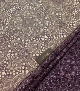 Dark lilac with silver thread chantillly lace fabric