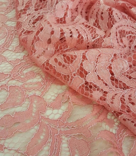 Salmon Lace Fabric