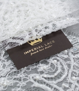 Hand beaded French chantilly lace trim