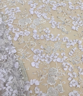 White 3D flowers lace fabric with beads