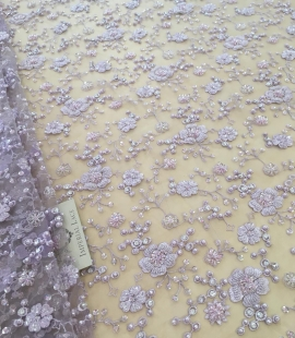 Lilac beaded lace fabric