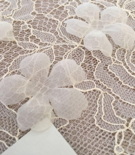 Ivory organza fabric flower applique per 5 pieces