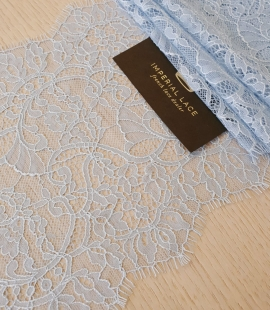 Light blue floral pattern chantilly lace trimming