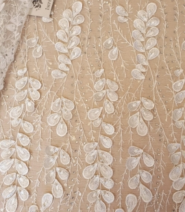 Offwhite 3D beaded lace fabric