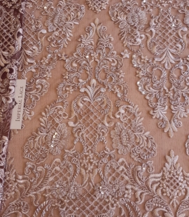 Luxury brown beaded lace fabric