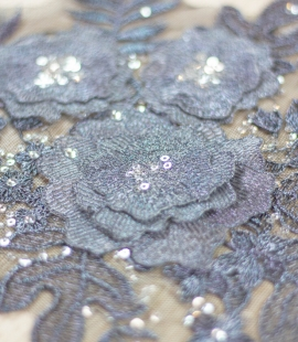 Dark grey 3D floral beaded lace applique 2 pcs set
