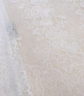 Off-white lace fabric with flowers