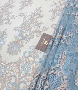Turquoise with bronze floral pattern chantilly lace fabric