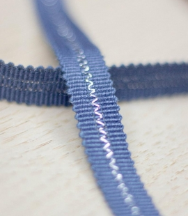 Greyish blue with silver thread in middle grosgrain ribbon