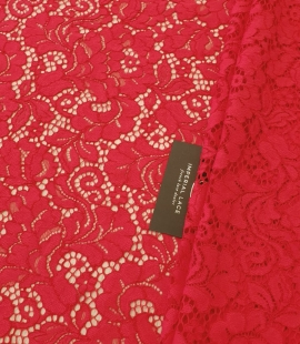 Red 100% polyester floral pattern chantilly lace