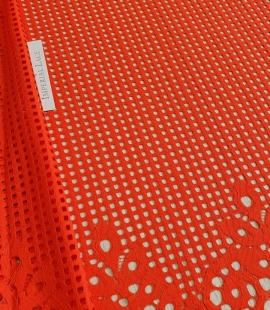 Orange red guipure lace fabric