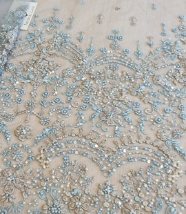Grey blue beaded lace fabric