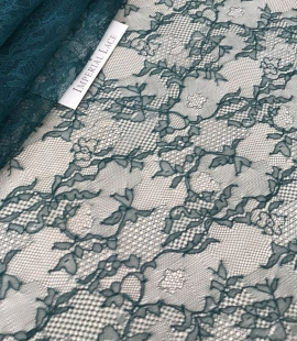 Deep teal green lace fabric