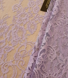 Lavander purple color 100% polyester chantilly lace fabric