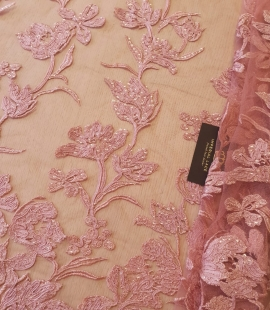 Raspberry pink floral pattern embroidery with sequins on soft tulle fabric