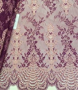 Lilac with blue lace fabric