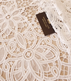 Off white macrame floral pattern with fabric details lace fabric