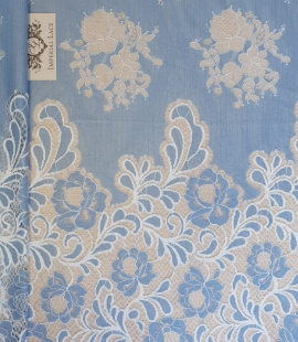 Light blue with white flower pattern fabric