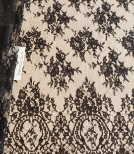 Black viscose chantilly lace fabric