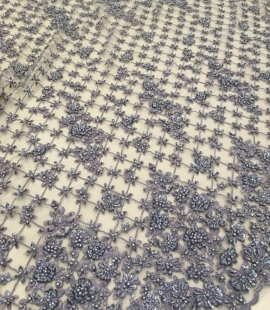 Grey beaded lace fabric