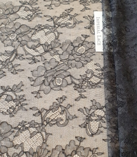 Black elastic chantilly lace fabric