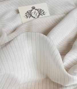 Grey with white viscose chiffon fabric