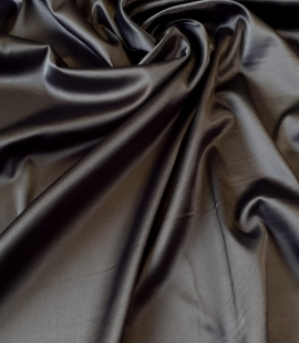 Dark grey polyester with elastane satin fabric