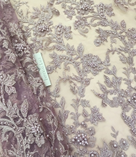 Old rose beaded floral lace fabric