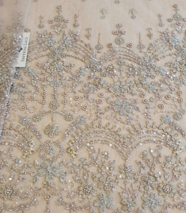 Beige grey beaded lace fabric