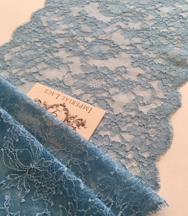 Blue elastic lace trim