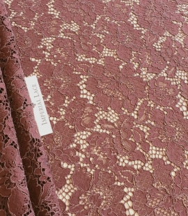 Reddish brown guipure lace fabric
