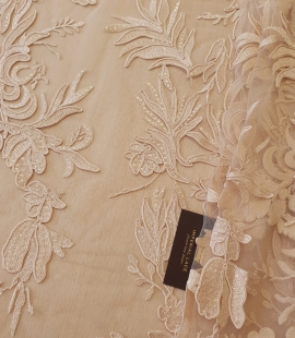 Beige sequin embroidery on soft tulle fabric