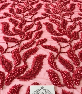 Red 3D lace fabric, Luxury hand made beads by 3D flowers
