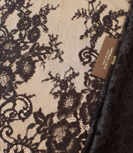 Black chantilly lace fabric