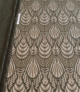 Khaki green chantilly lace fabric