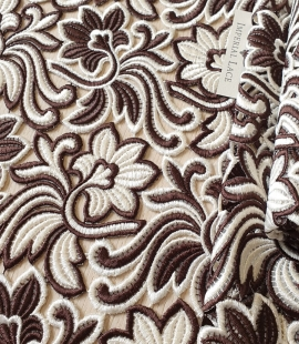 Brown with white macrame lace fabric