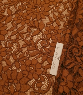 Ginger brown guipure lace fabric