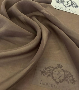 Brown Silk crepe Chiffon