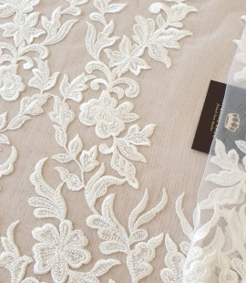 Ivory thick embroidery beaded lace fabric